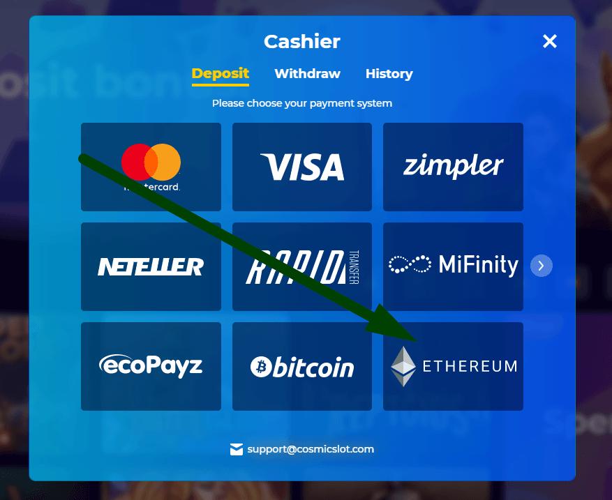 Valitse Ethereum maksutavaksi