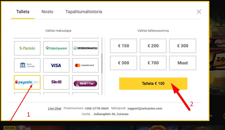Valitse Paysafe maksutavaksi