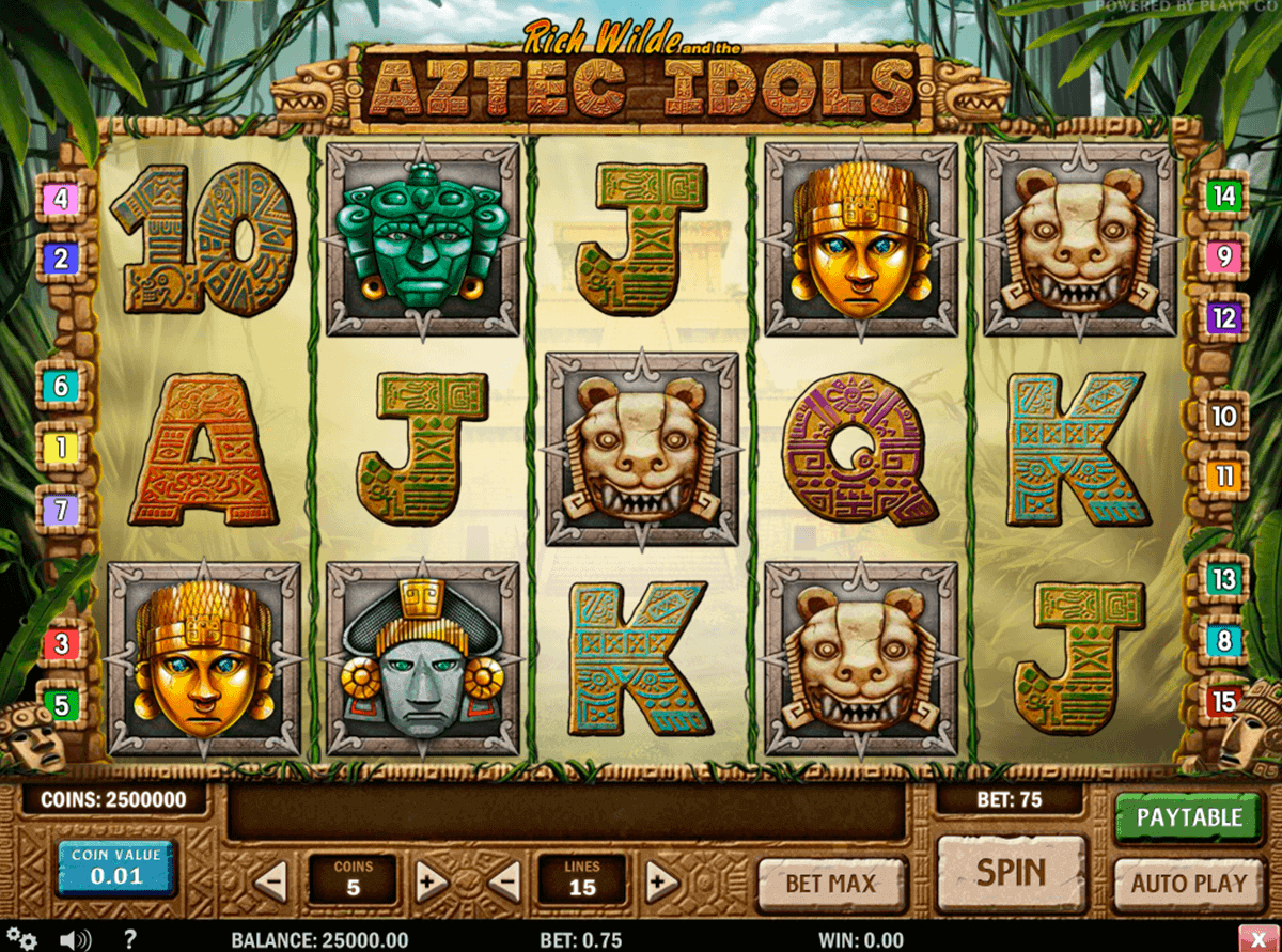 aztec idols playn go kolikkopelit