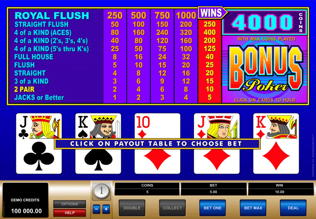 Bonus Poker Videopokeri Netissä | Microgaming Casino Pelit