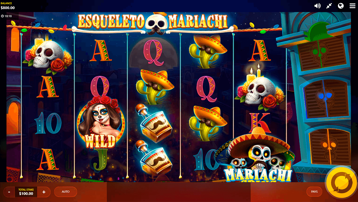 esqueleto mariachi red tiger kolikkopeli